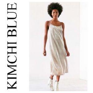 NWOT Kimchi Blue Metallic Accordion Slip Dress
